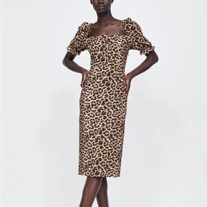 NWT Zara Woman Leopard Square Neck Midi Dress
